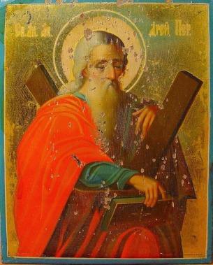 Παλαιά ρώσικη εικόνα του Αποστόλου Ανδρέα http://leipsanothiki.blogspot.be/