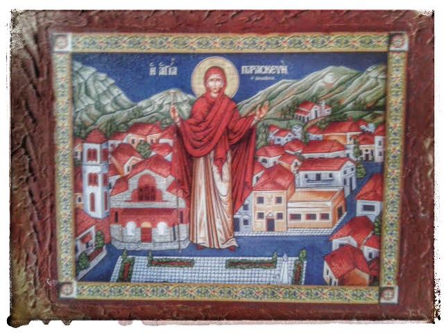 η αγία Παρασκευή η Γερόντισσα, η προστάτης του ομώνυμου χωριού