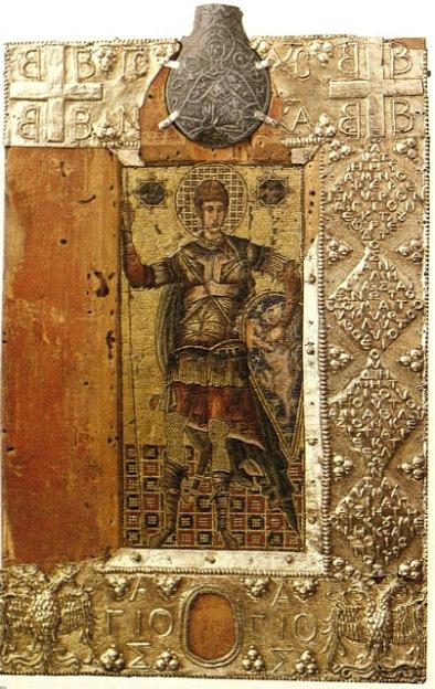 Η βυζαντινή μικροψηφιδωτή εικόνα του Αγίου Δημητρίου με μύρο από τον τάφο του, τα σύμβολα των Παλαιολόγων και τις επιγραφές.